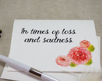 Watercolor Peonies Printed Sympathy Card with envelope