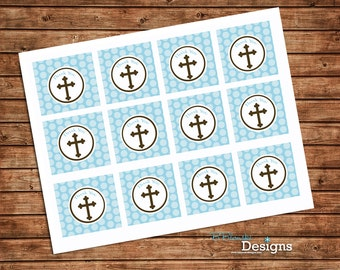 Simply sweet blue Communion, Baptism, Christening, Confirmation Printable Cupcake toppers or favor tags - instant download