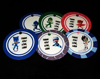 PJ Masks theme thank you tags, favor tags, gift tags - set of 24