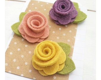 Medium Wool Felt Flowers with Leaves - Pick Your Set
