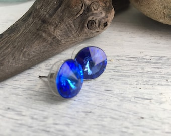 Sapphire Luxury - Swarovski Rivoli Rhinestone Earrings in Sapphire Blue - Something Blue in Stainless Steel Settings