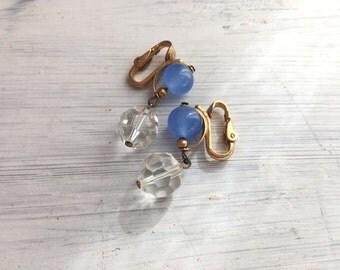 Something Blue No.95 - Vintage Clip Earrings in Ocean Blue