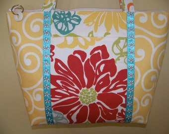 Tropical print large-size purse yellow red with blue print ribbon trim