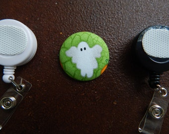 Ghost Fabric Covered Button for Clip on Retractable Badge Reel - Halloween