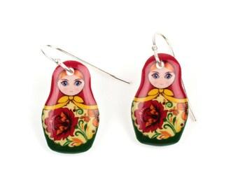 Russian Doll Matryoshka Earrings Shrink Plastic Resin Earrings Babushka Earrings Kitsch Earrings