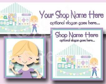 Premade Etsy Cover Photo - Large Etsy Banner - Etsy Shop Banner - SHOP ICON - Shop Profile - LIttle Girl Blue Craft Booth