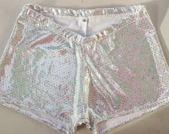 Short and Sweet style roller derby shorts in Sequin Mystique, made to order