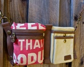 Seeds that produce - GTA Corp - Convertible Belt/Waist Bag Vintage seed sack W- Americana OOAK Canvas & Leather Bag Selina Vaughan Studios