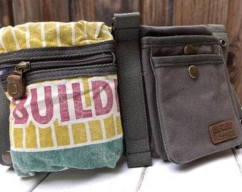 Ramy Seeds - Feed Sack 100 lbs - Convertible Belt/Waist Bag Vintage seed sack W- Americana OOAK Canvas & Leather Bag Selina Vaughan Studios