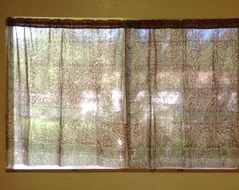 Curtains, Indian print curtains, Handmade curtains, cafe curtains, dupatta curtains