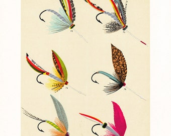 fly fishing print from an 1892 book, printable digital download no. 950.