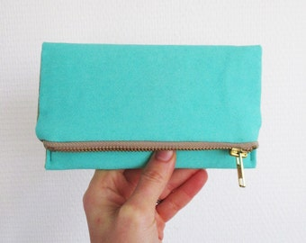 Aqua iPhone wallet, simple vegan smartphone clutch, teal green