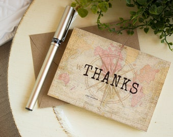 Vintage World Map  Compass Travel Thank You Notes  set of five