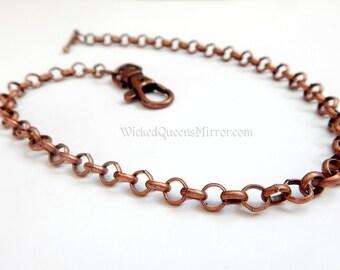 Copper Pocket Watch Chain, Single Albert, Victorian, Steampunk Fob Chain, Gifts for Men, Groomsman Present, Formal Men's, Steampunk Cosplay
