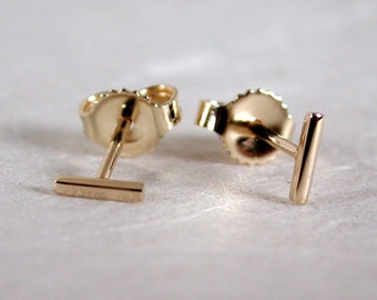 5mm x 1mm Thin Gold Bar Studs 14k Yellow Gold Jewelry by Susan Sarantos