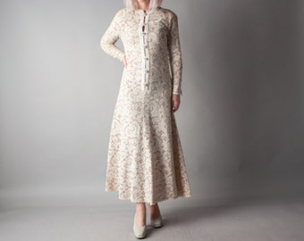 PAT SANDLER white crochet lace dress / 70s wedding dress / fit and flare dress / s / 1706d