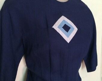 Vintage 1950s Blue Linen Day Dress Geometric Detail Sm Md