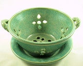 Aqua Green Berry Bowl or Colander with Saucer Stoneware Pottery