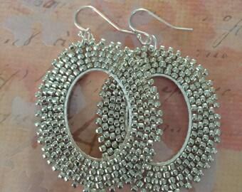 Seed Bead Hoop Earrings Silver Oval Hoop Beaded Earrings