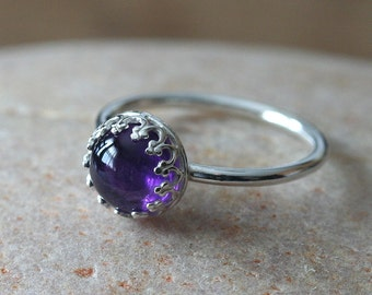 Amethyst Stacking Ring, Sterling Silver Ring, Gallery Crown Bezel, Gemstone Ring, Size 2 to 15, February Birthstone, Solitaire Womens Ring