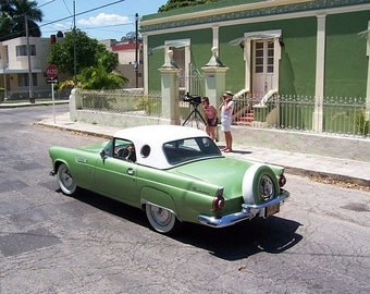 Lime Squared. A vintage 1956 T-Bird. Merida, Mexico.