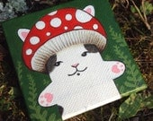 "RESERVED listing - Mushroom kitty 3"" x 3"" acrylic painting"