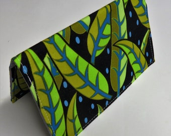 Checkbook Cover Case Cheque Coupons Money Holder - Olive Green Lime Green Leaves on Black Fabric