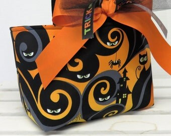 Halloween Trick or Treat Candy Bag Basket Bucket  - Who's Watching - Black Cats and Silly Spiders