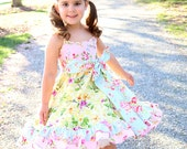 Reserved for Andrea Yellow pink blue Easter dress, ruffled birthday dress, floral dress, bird print dress, slip twirl dress