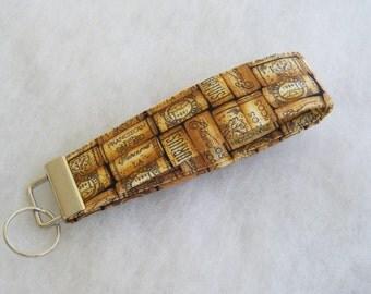 Key Fob wristlet - Wine Corks