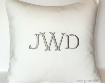 Monogram Pillow Cover to fit an 18 x 18 Decorative Throw Pillow insert. Wedding Anniversary Gift. Farmhouse Decor. Dorm Decor. Mr Darcy font