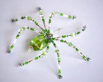 Kalil - peridot green and crystal clear glass beaded spider goth sun catcher - Halloween - Christmas ornament