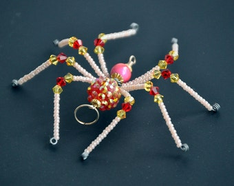 Juliet - red, pink, peach, and yellow glass beaded spider goth sun catcher - Halloween decoration - Christmas ornament