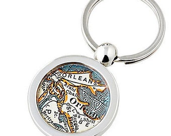New Orleans Keychain Map Key Ring Fob Vintage NOLA  Atlas  by sherrytruitt Mardi Gras Free Shipping in the US