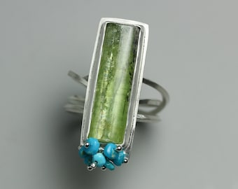 Green Kyanite and Turquoise Ring. Kyanite And Turquoise Cluster Statement Ring. US size 8.5.