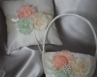 Ring Bearer Pillow and Flower Girl Basket Cream Shabby Chic-Peach-Mint-Cream-Rhinestones and Pearls-Only One Available
