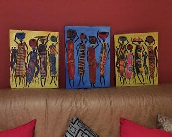 Painting African Fabric African Ladies handmade Ghana