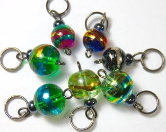 Hand Made Stitch Markers -- Planets (8-10mm)