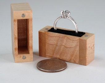 Wood Ring Box, Birds Eye Maple Wood, Wavy Maple Wood