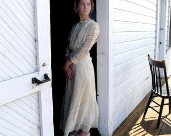 Edwardian Silk and Lace Tea Dress XS XXS