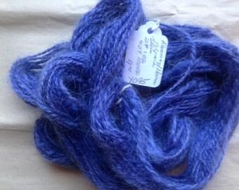 Y095 Hand Processed and Spun Romney Llama Alpaca Blend Blue yarn