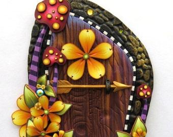 Wild Mushroom Fairy Door, Toadstool Pixie Portal Home Decor, Fairy Garden Entrance, Polymer Clay Miniature Door
