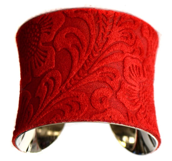 Bright Red Embossed Floral Suede Cuff Bracelet - by UNEARTHED