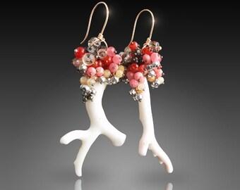 Japanese White Coral Earrings with Bohemian Garnet, Carnelian, Pyrite, Rhodochrosite, Rare Zebra Garnet, Champagne Zircon, and Smoky Topaz