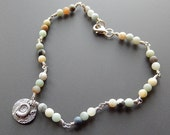 Anklet Sterling Silver Ammonite Fossil and Beachy Amazonite Beads with Sterling Lobster Claw Clasp