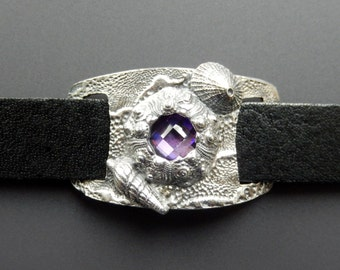 Sterling Silver Sea Urchin with Amethyst CZ, Ladder Shell, Keyhole Limpet Black Leather Snap Cuff Bracelet Adjustable OOAK
