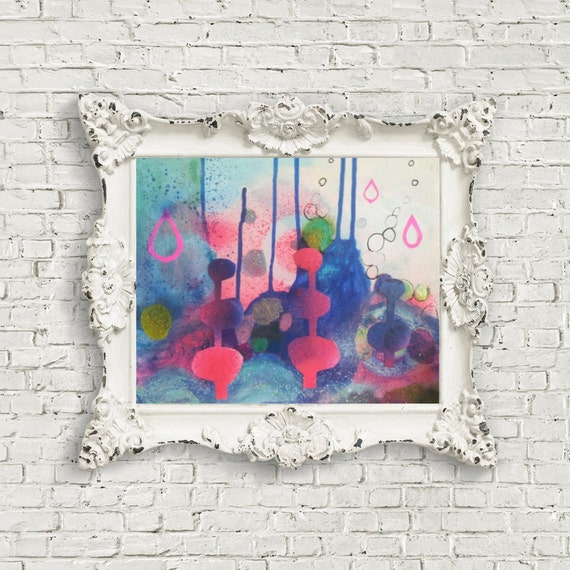 Abstract Landscape Mixed media Painting Collage Original Canvas Neon Pink Blue Surreal Pop