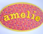Personalised wood plaque with child's name, bedroom door sign, girls room, gift, pink, yellow, bright, floral