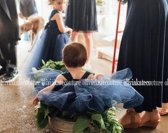 Baby Flower Girl Dress Natural Navy dress Mini Flower Girl