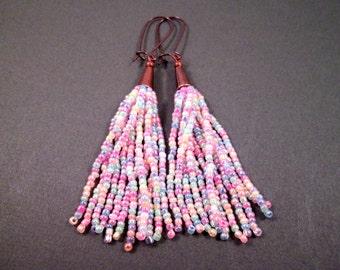 Tassel Earrings, Pastel Rainbow, Glass Seed Beaded Fringe Earrings, Copper Dangle Earrings, FREE Shipping U.S.